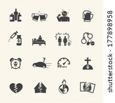Alcoholism icons set. Vector flat design.