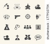 Just say NO. Simple Drug and Crime Icons set. Vector flat design.