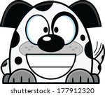 Cute cartoon dalmatian puppy dog, with a big smile.  - stock vector