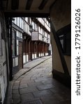 Small photo of Shrewsbury, Shropshire / UK – 7 13 2020: The Henry Tudor House restaurant occupies an historic half-timbered, 15th-century Tudor building in Barracks Passage, Wyle Cop, Shrewsbury, UK