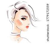 hand drawn beautiful woman face ... | Shutterstock .eps vector #1779172559