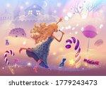 fantasy landscape illustration...   Shutterstock .eps vector #1779243473