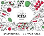 italian pizza and ingredients.... | Shutterstock .eps vector #1779357266
