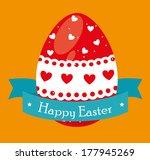 happy easter over   orange ... | Shutterstock .eps vector #177945269