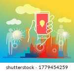 using contact tracing app for... | Shutterstock .eps vector #1779454259