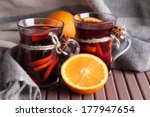 mulled wine with oranges on... | Shutterstock . vector #177947654