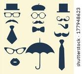 retro party set   glasses  lips ... | Shutterstock .eps vector #177948623