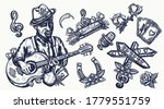 blues music elements. tattoo... | Shutterstock .eps vector #1779551759