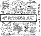 Hand Drawn Banner And Tag Icon...