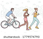 people are jogging or biking... | Shutterstock .eps vector #1779574793