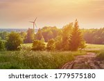 Wind Turbine In The Field. Win...
