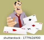 Gambling. Man With Cards. Funn...