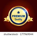 golden premium quality badge | Shutterstock .eps vector #177969044