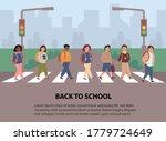 children crossing street along... | Shutterstock .eps vector #1779724649
