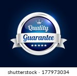 silver quality guarantee badge | Shutterstock .eps vector #177973034
