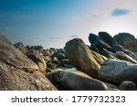 Natural giant rocks formation on white sand beach in Belitung, Bangka Belitung Island, Indonesia - stock photo