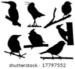 vector silhouette of the small birds on branch tree - stock vector