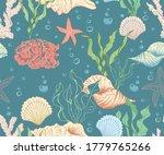 Seamless Marine Pattern With...