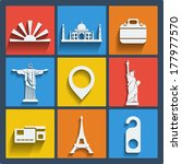 set of 9 vector travel web and... | Shutterstock .eps vector #177977570