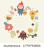 dwarf on a floral background...   Shutterstock .eps vector #1779793850