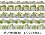 set of seamless old gray border ...   Shutterstock .eps vector #1779854663