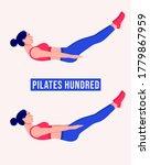 pilates hundred exercise  woman ... | Shutterstock .eps vector #1779867959
