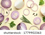 flat lay composition with onion ...
