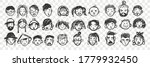 hand drawn human faces doodle... | Shutterstock .eps vector #1779932450