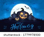 happy pumpkins on blue... | Shutterstock .eps vector #1779978500