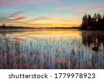 Small photo of Evening at the lake, Sweden around Dorotea