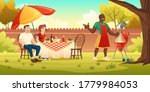 bbq party. people at table on... | Shutterstock .eps vector #1779984053