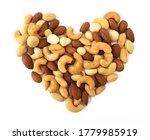 Nuts In Shape Of Heart Isolated ...