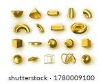 set of 3d golden geometric...   Shutterstock .eps vector #1780009100