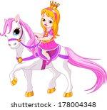 cute little princess riding on ... | Shutterstock . vector #178004348