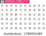 financial items thin line icon...