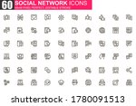 social network thin line icon...