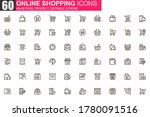 online shopping thin line icon...