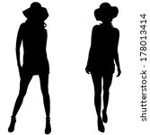 vector silhouettes of sexy... | Shutterstock .eps vector #178013414