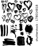 Blots Splash Banners And Heart...