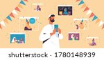 arab man celebrating online... | Shutterstock .eps vector #1780148939