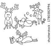 Set Of Four Cute Deers  Doodle...