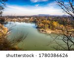 Willamette river in sunny autumn day. View from above. Milwaukie City, Oregon,  on the background