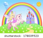 castle and rainbow fairy and... | Shutterstock .eps vector #178039523