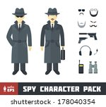 spy character pack with gadgets ... | Shutterstock .eps vector #178040354