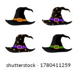 colorful witch and wizards hats ... | Shutterstock .eps vector #1780411259