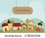 happy village background with... | Shutterstock .eps vector #178045346
