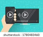 phone connected to tv streaming ... | Shutterstock .eps vector #1780483460