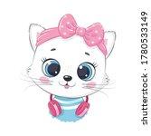 cute cartoon kitten girl with...   Shutterstock .eps vector #1780533149