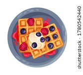 gaufre or waffles with... | Shutterstock .eps vector #1780542440