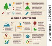 Camping and outdoor activity tourism infographic elements for web design and presentation vector illustration